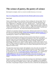 The science of poetry, the poetry of science