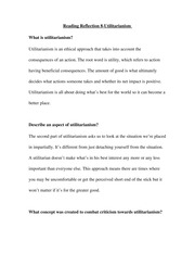 Reading Reflection 8-Utilitarianism