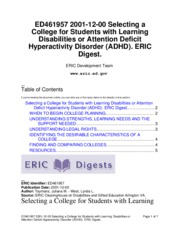 12 - Selecting a College for Students with Learning Disabilities