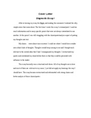 Diagnotic Essay I Cover Letter