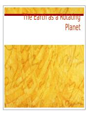 Lecture 1-The Earth as a Rotating Planet