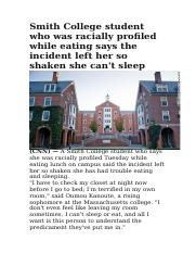 Smith College student who was racially profiled while eating says the incident left her so shaken sh