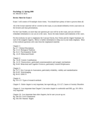 Psychology 12 Spring 2008 Review Sheet, Exam 1