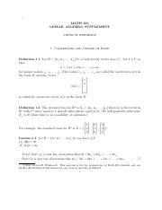 Linear Algebra Supplement (4.7 and 5.5)