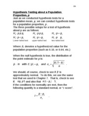 Hypothesis Testing about a Populatiin Proportion