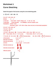 Curve Sketching Worksheet 1 Key