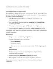 Geograph 100 Final Study Guide