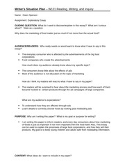 Writers Situaution Plan - Exploratory Essay