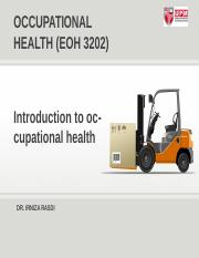 W1 Introduction to occupational health