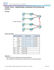 8.3.1.4 Packet Tracer - Implementing a Subnetted IPv6 Addressing Scheme