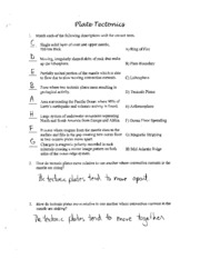 Printables Plate Tectonics Worksheet plate tectonics study resources 2 pages science 10 key