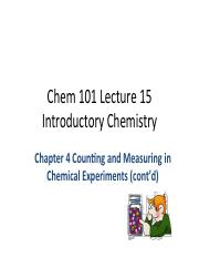 Chem 101 Lecture 15 pdf - Chem 101 Lecture 15 Introductory Chemistry