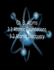 PPT - Ch. 3 Atomic Structure