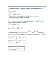 MATH 143 Finding the roots of a quadratic equation with leading coefficient 1