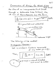 Conservation of Energy for Blood Flow notes
