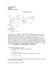ECON 210 Fall 2009 Final Exam Solutions