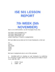 7 ISE 501 LESSON REPORT