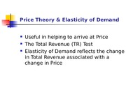 Price Theory & Elasticity of Demand