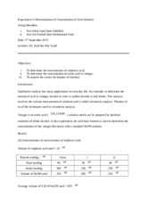 Lab Report: Determination of Concentration in Acid Solution