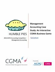 HUMBLE PIES AICPA Accounting Competition Management Accounting. Management Accounting Case Study_ An