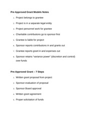 Pre Approved Grant Models Notes