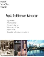 Expt 8_ ID of Unknown Hydrocarbon