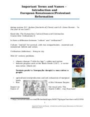 Important Terms and Names - Introduction and European Renaissance & Protestant Reformation.docx