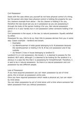 Property Law - Seminar Notes - Possession