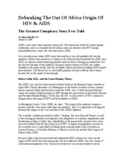 Debunking The Out Of Africa Origin Of HIV