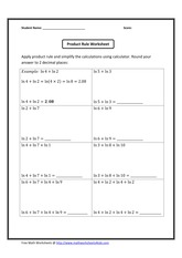 Logarithmic functions Product Rule Worksheet