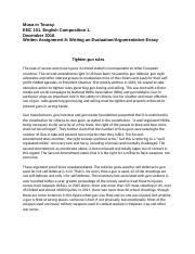 ENC 101Written Assignment 8  Evaluation and Argumentative Essay.docx