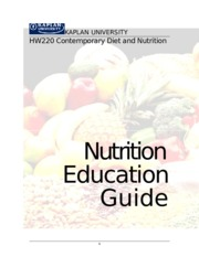 RStanton HW220 Final Project Nutrition and Diet Therapy
