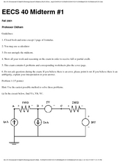 Electrical Engineering 40 - Fall 2001 - Oldham - Midterm 1