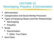 Lecture 12 - Stereotyping, Prejudice, and Discrimination
