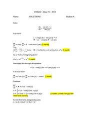 CHE 222 Spring 2014 Quiz 4 Solutions