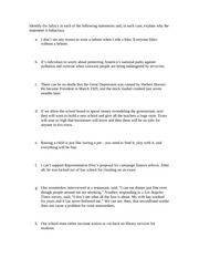 Identifying Fallacies Worksheet University of Texas CMS 306M - Fall ...