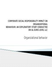 Ain20140921014‏ CORPORATE SOCIAL RESPONSIBILITY IMPACT ON ORGANIZATIONAL