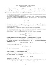 MATH 557 Hypothesis Testing Notes