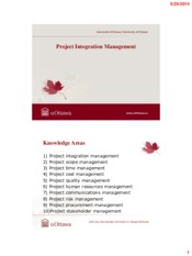 Lecture 4 Project Integration Management for Project Management for Chemical Engineering
