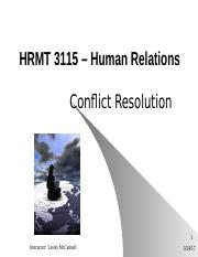 HRMT3115ConflictResolutionv8 Fall2013KWLM