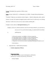 Personality APSY 327Exam 1 Outline