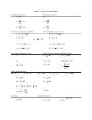 221S16 Exam 3 Equation Sheet