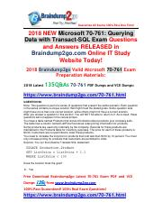 (2018-2-7)New Braindump2go 70-761 Dumps with PDF and VCE 135Q&As Free Share(98-105).pdf