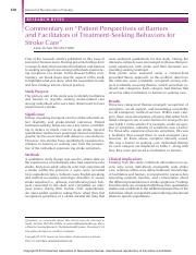 Commentary on Patient Perspectives of Barriers and Facilitators of Treatment-Seeking Behaviors for S