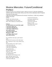 Musica Miercoles: Future/Conditional Perfect.docx