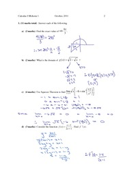 UOIT MATH 1010 Midterm 1 solutions (Pink Cover) 2011