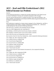 karl and ellie frederickson's 2012 federal income tax problem #2