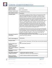 BSBCUS402 Customer complaint feedback form.docx