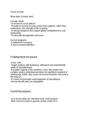 What does canada need. EI and social assistance
