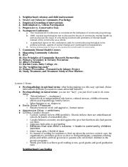 Community Outreach study sheet